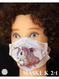 Bestickte Kinder-Mund-und Nasen-Maske Behelfs-Mundschutz Einhorn