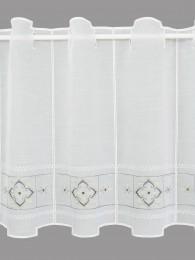Bestickte Kurzgardine Liesel in weiß-grau