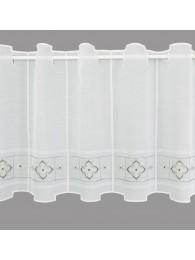 Bestickte Kurzgardine Liesel in weiß-grau mittel