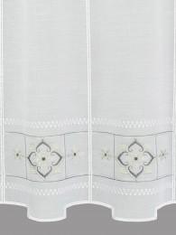 Bestickte Kurzgardine Liesel in weiß-grau detail
