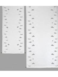 Moderne weiße Flächengardine mit vielen kleinen aufwändigen Spachtelapplikationen.