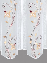 Kurzgardine Blütenranke in lachs-weinrot detail