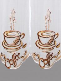 Moderne Stickerei-Bistrogardine Coffee detail
