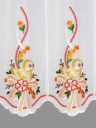 Scheibengardine Küken mit Schleife in orange detail