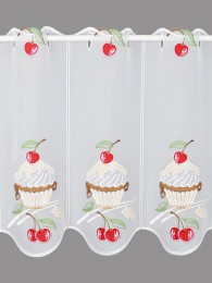 Küchengardine Kirsch-Cupcake