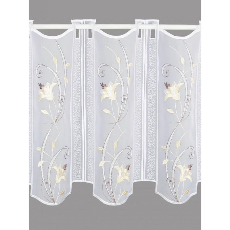 Scheibengardine Blütenranke in beige