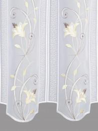 Scheibengardine Blütenranke in beige detailbild