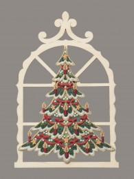 Kleiner geschmückter Baum im Holzfenster