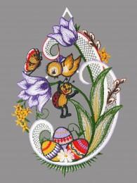 Fensterbild Käfer an der Tulpe lila