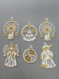 Baumbehang Mix in weiß-gold 6er Set