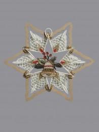 Stern mit Glocke im Holzrahmen