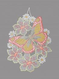 Fensterbild Blütenbukett mit Schmetterling