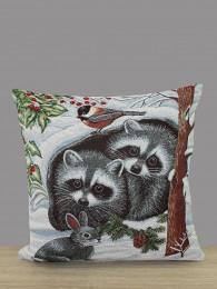 Gobelin-Kissenhülle Waschbären