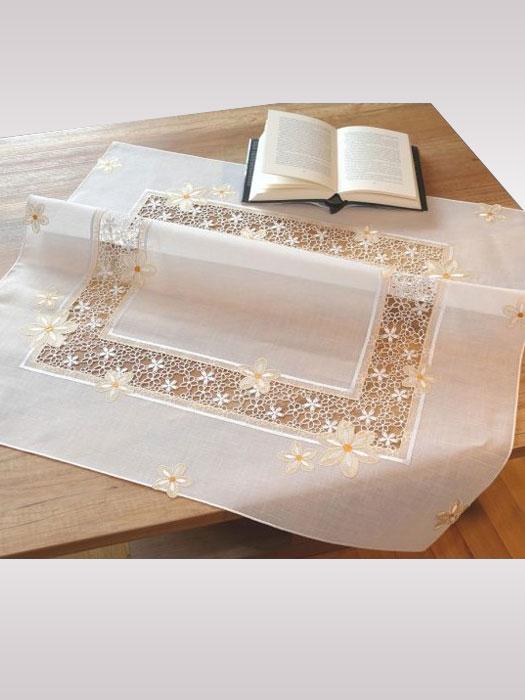 Tischwäsche mit Plauener Spitze -  hier Deckenserie Isabella